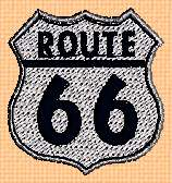 What is Radiator Springs with a Route 66 sign?